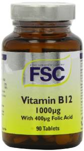 B12 1000ug 90 tablets with added Folic acid for better absorption - FSC