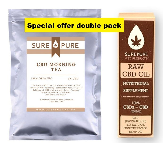 Double pack 3% CBD Oil 300mg 10ml bottle and 3% CBD Morning Tea 10 Bags -  Special Offer